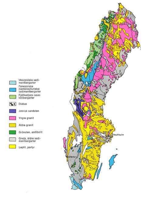 Bild 4:5 Starkt förenklad berggrundskarta över Sverige